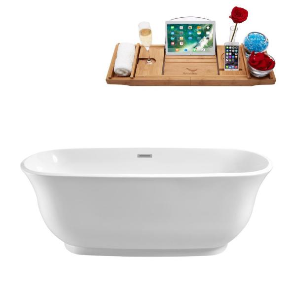 59.1 in. Acrylic Flatbottom Non-Whirlpool Bathtub in Glossy White