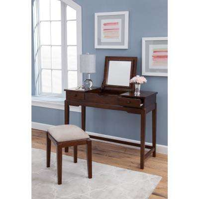 Espresso Lift Top Vanity Table