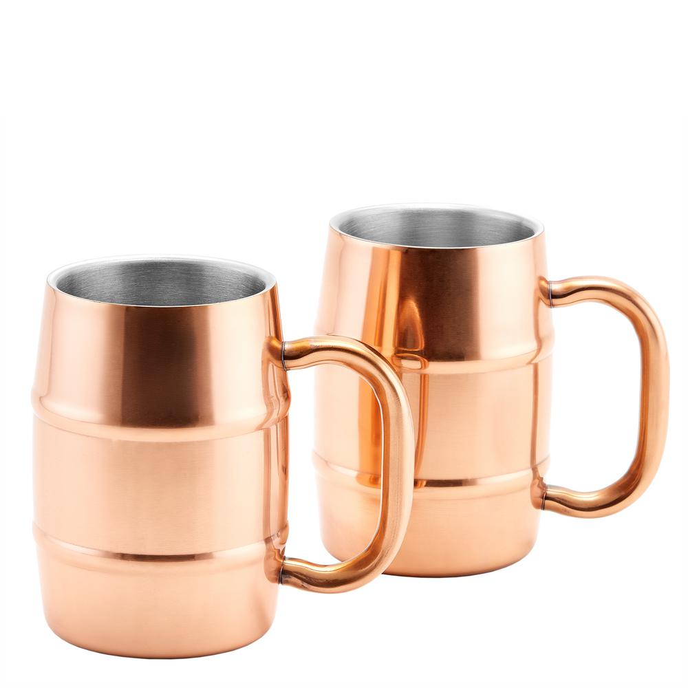 KeepKool DuraCopper 16.9 oz. Double Walled Stainless Steel Mugs (Set of
