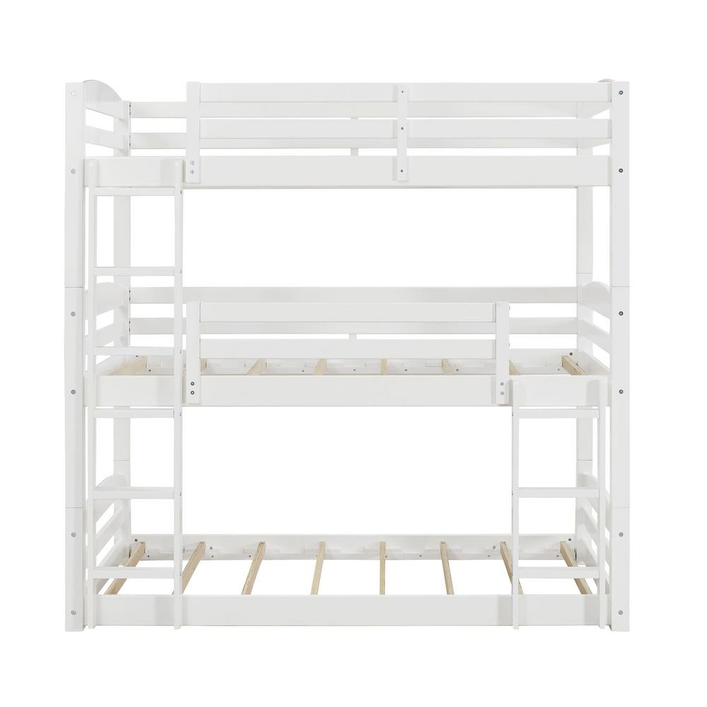 Dorel White Triple Twin Size Bunk Bed Noma