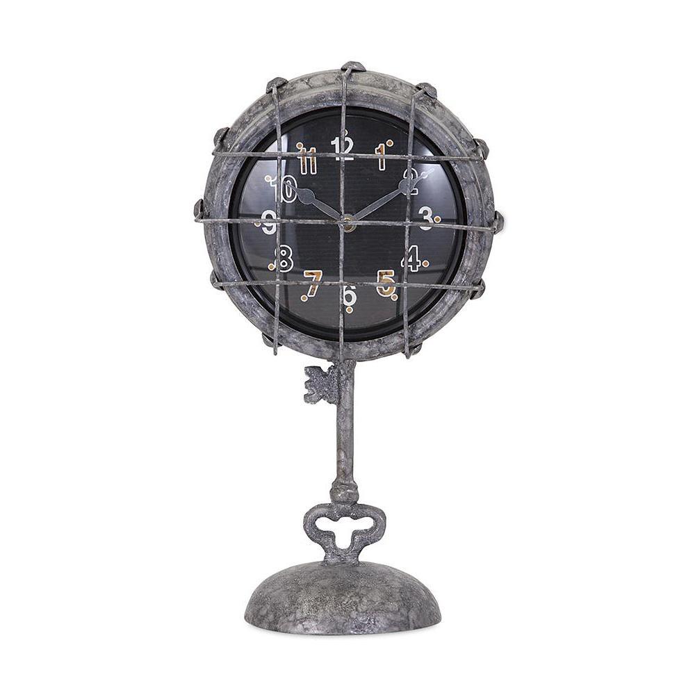 Hackett 12 in. x 6.75 in. Iron Pedastal Clock