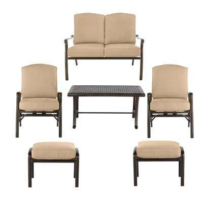 Ridge Falls Dark Brown Aluminum Outdoor Patio Deep Seating Set with Sunbrella Beige Tan Cushions