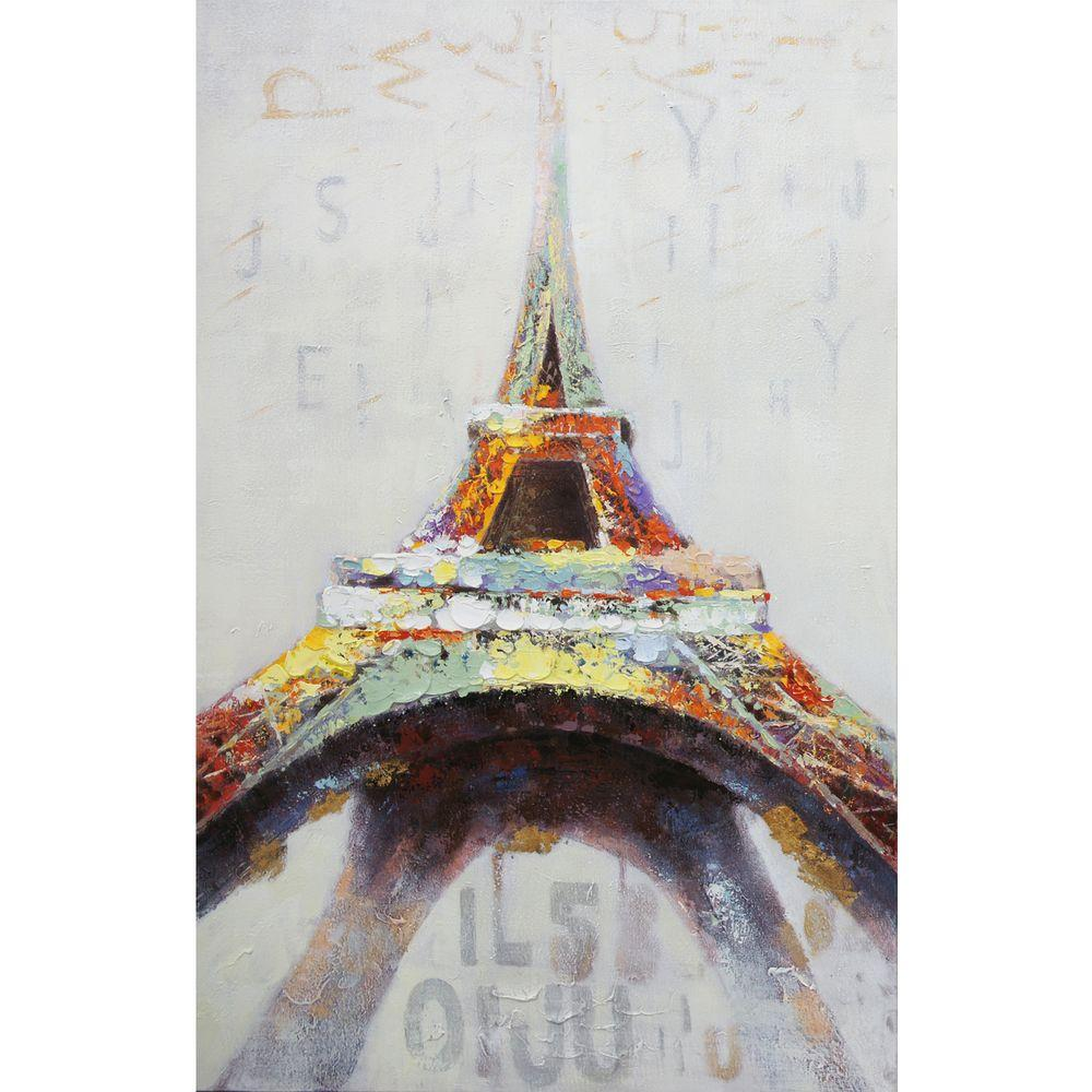 """Yosemite Home Decor 55 in. x 36 in. """"Eiffel in Color"""" Hand Painted Contemporary Artwork"""