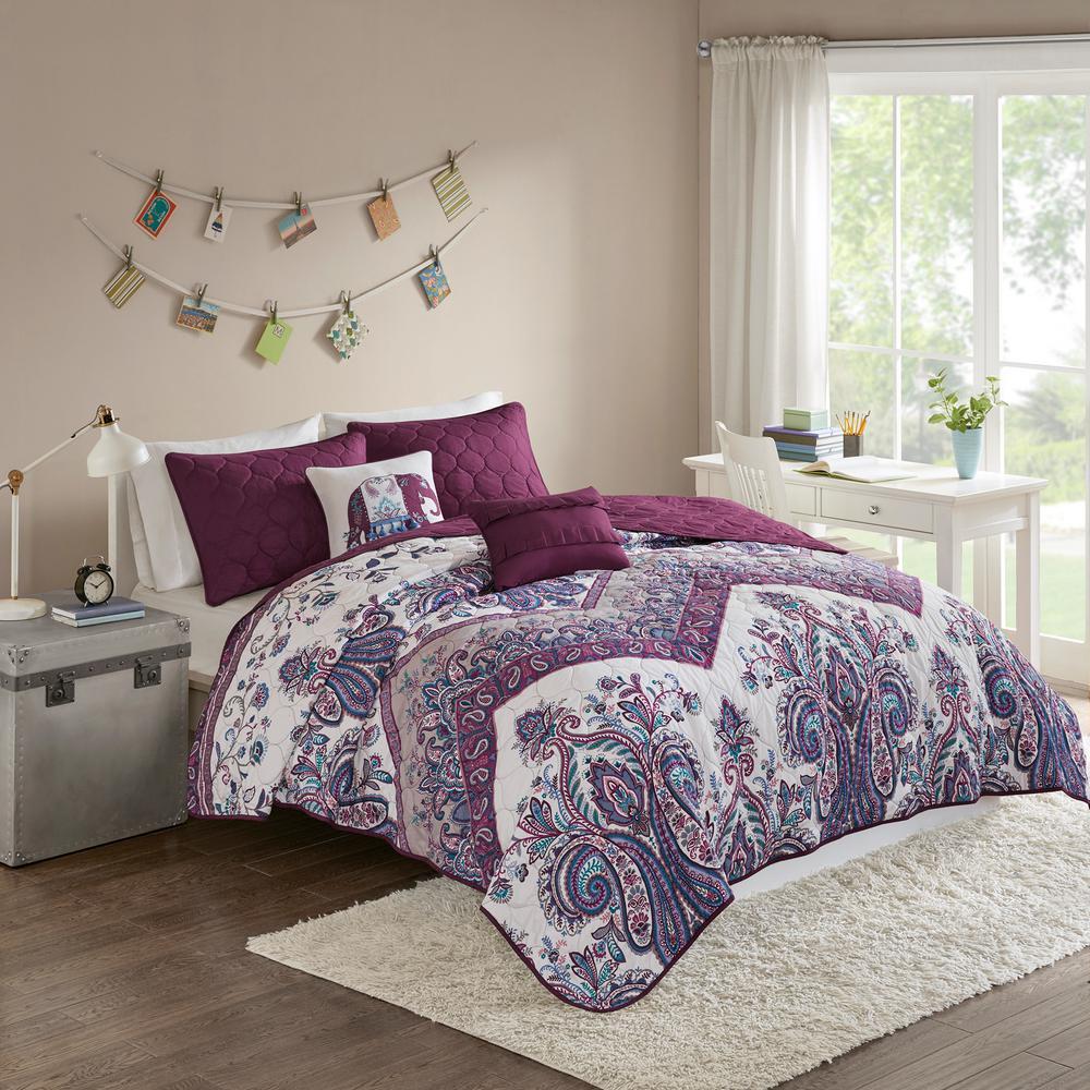 Layne 5-Piece Purple Full/Queen Boho Coverlet Set