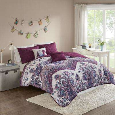 Layne 5-Piece Purple Full/Queen Boho Coverlet Set