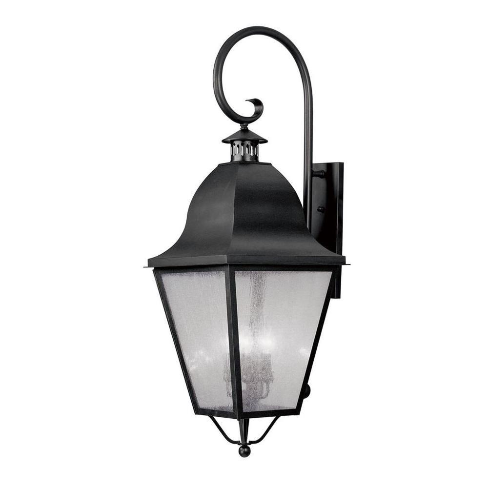 Providence Wall-Mount 4-Light Black Outdoor Incandescent Lantern