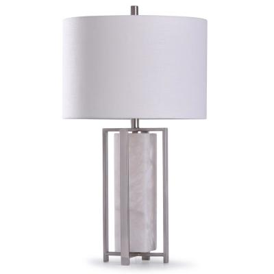 Abyaz 30 in. Open Square Framed Marble and Steel Table Lamp