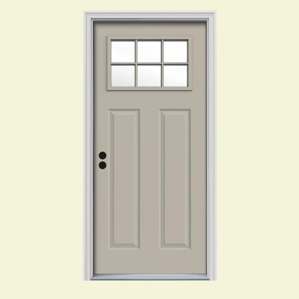JELD-WEN 30 in. x 80 in. 6 Lite Craftsman Desert Sand Painted Steel Prehung Right-Hand Inswing Front Door w/Brickmould