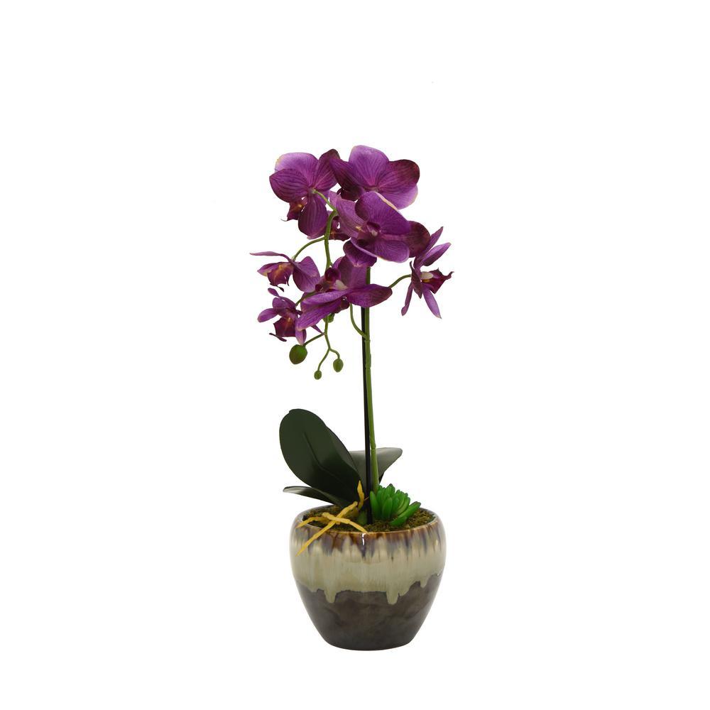 Faux Orchid Purple Flower Pot