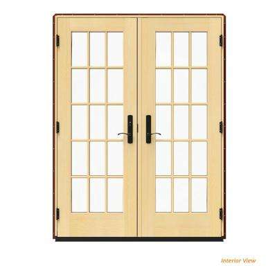 60 in. x 80 in. W-4500 Red Clad Wood Right-Hand 15 Lite French Patio Door w/Lacquered Interior
