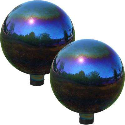 10 in. Rainbow Mirrored Garden Gazing Ball (2-Pack)