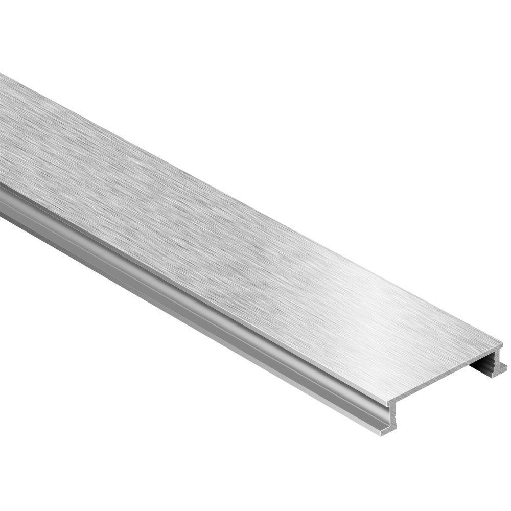 Designline Brushed Nickel Anodized Aluminum 1/4 in. x 8 ft. 2-1/2 in. Metal Border Tile Edging Trim