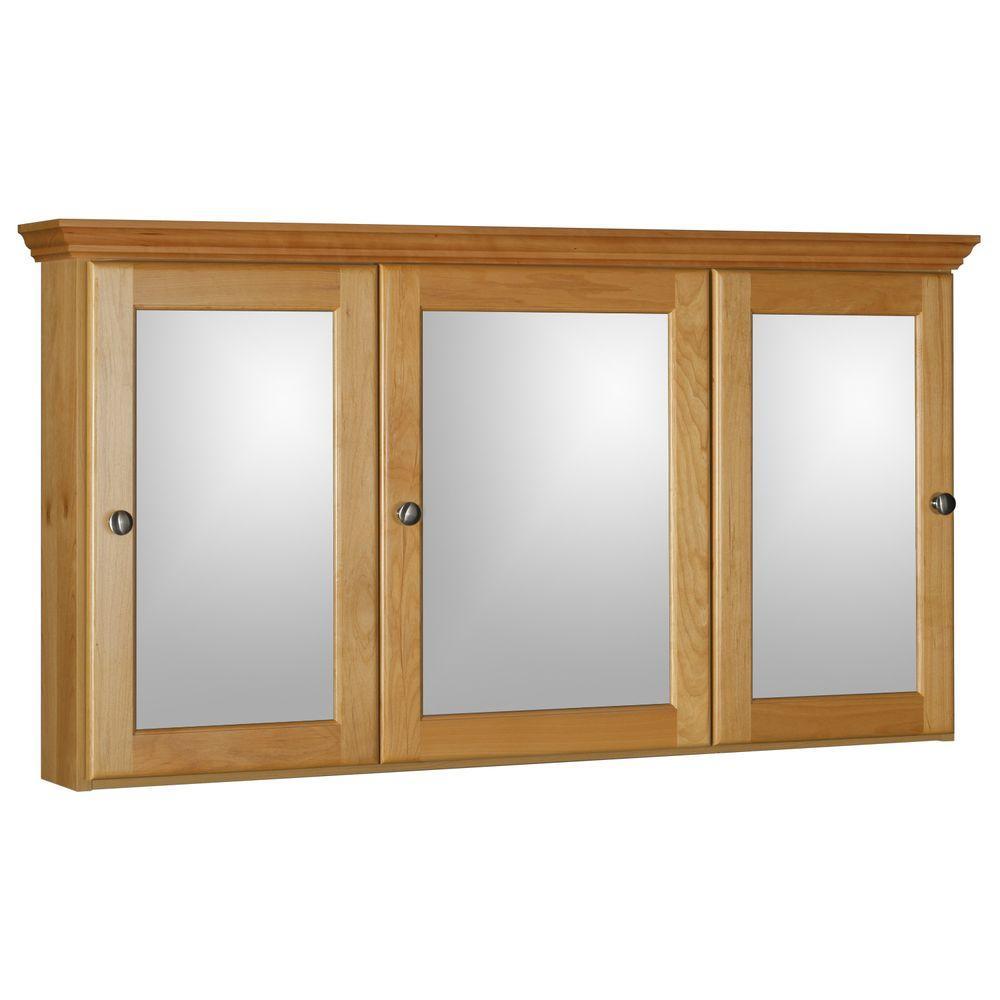 Simplicity by Strasser Ultraline 48 in. W x 27 in. H x 6-1/2 in. D Framed Tri-View Surface-Mount Bathroom Medicine Cabinet in Natural Alder