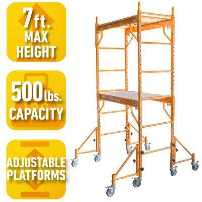 7 ft. x 3.5 ft. x 2 ft. Rolling Interior Mini Scaffold Tower Set with Outriggers and Lockable Casters for Support