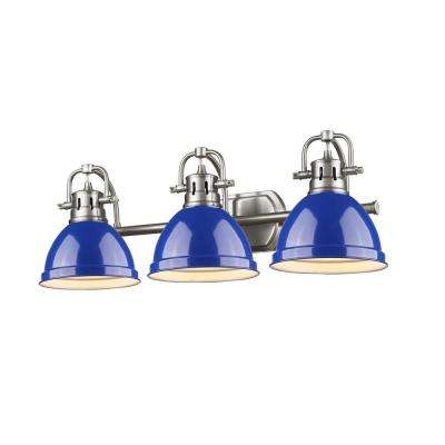 Duncan 3-Light Pewter Bath Light with Blue Shade