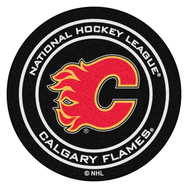 Calgary Flames Black 27 in. Round Hockey Puck Mat