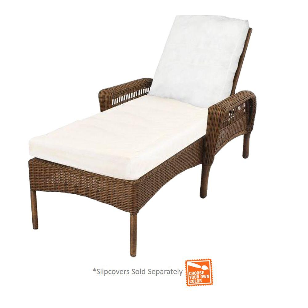 Hampton Bay Spring Haven Brown Wicker Patio Chaise Lounge...