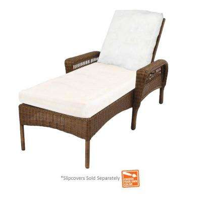 Spring Haven Brown Wicker Patio Chaise Lounge with Cushions Included, Choose Your Own Color