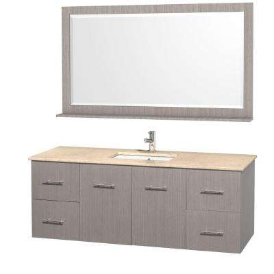 Centra 60 in. Vanity in Grey Oak with Marble Vanity Top in Ivory and Under-Mount Sink