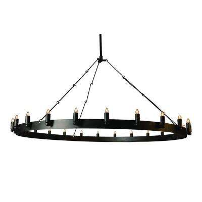 Farrington Collection 24-Light Raw Iron Gray Chandelier
