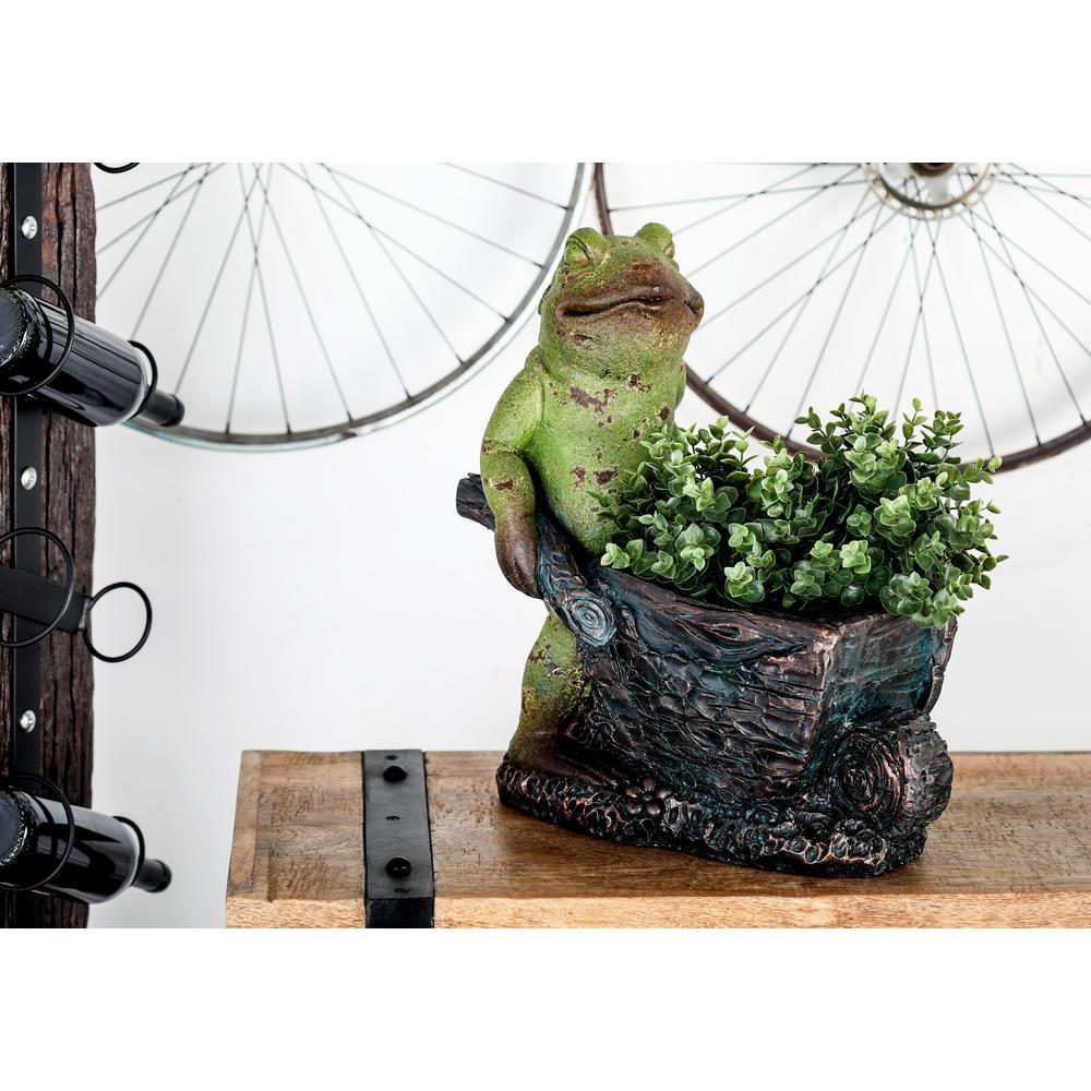 Green Polystone Frog Pushing a Cart Planter