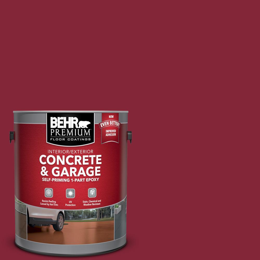 1 gal. #M140-7 Dark Crimson Self-Priming 1-Part Epoxy Satin Interior/Exterior Concrete and Garage Floor Paint