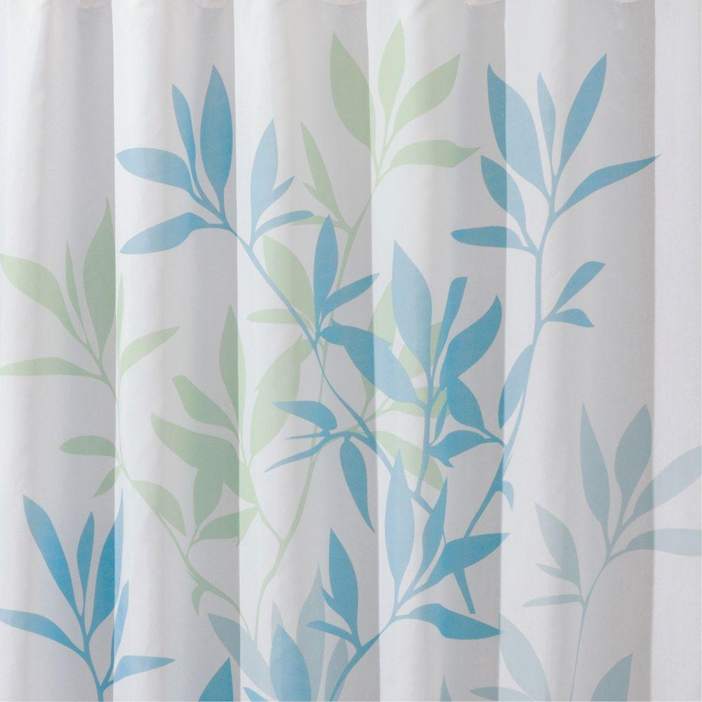 Shower Curtain In Soft Blue/Green Leaves