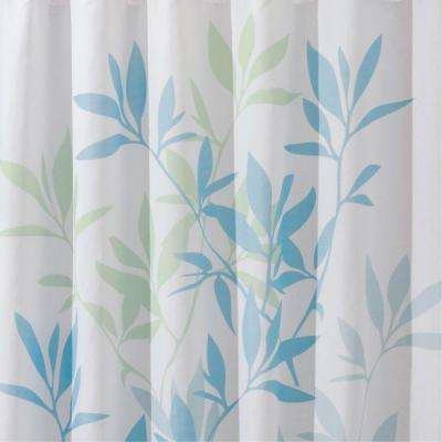 72 In X Shower Curtain Soft Blue Green Leaves