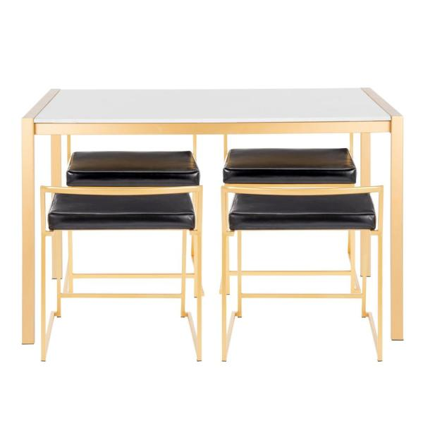 Fuji 5-Piece Gold Dining Set with White Marble Top and Black Faux Leather Upholstery