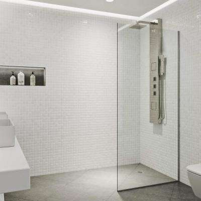 Zenith 34 in. x 74 in. Frameless Fixed Shower Screen in Stainless Steel with Clear Glass