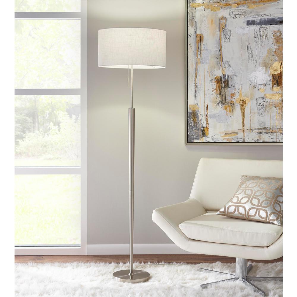 65 in. Brushed Nickel Floor Lamp