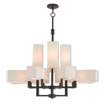 Rubix 12-Light Bronze Foyer Chandelier with Oatmeal Color Fabric Outside and White Fabric Inside Hardback Shade