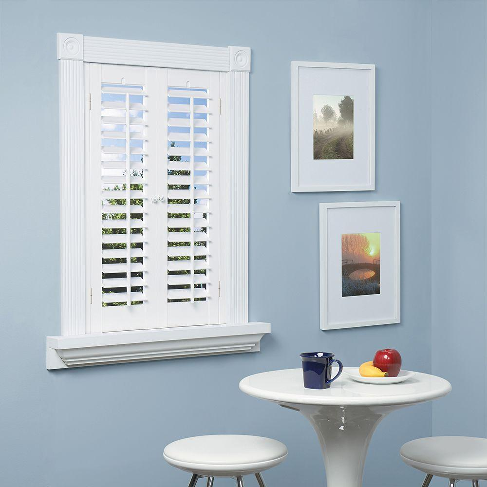 Interior Plantation Shutters Home Depot window treatments for large windows sun shade home depot home depot roman shades Homebasics Plantation Faux Wood White Interior Shutter Price Varies By Size