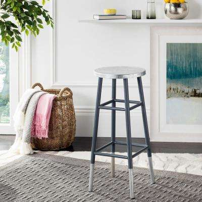 Kenzie 30 in. Silver Dipped Bar Stool in Gray