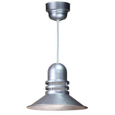 1-Light Galvanized Orbitor Shade Pendant with Frosted Glass