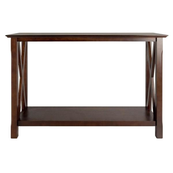 Xola 45 in. Cappuccino Standard Rectangle Wood Console Table with Storage