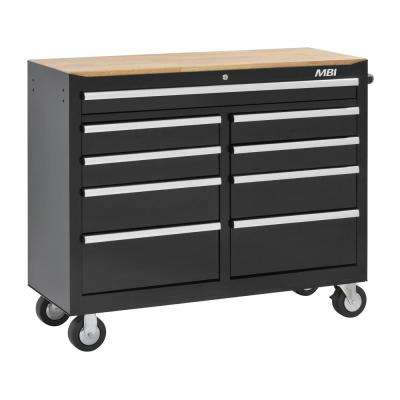 46 in. 9-Drawer Mobile Work Center Black