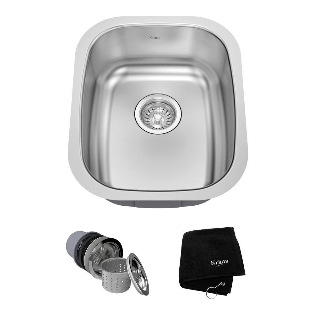kraus undermount stainless steel 15 in. single bowl kitchen sink