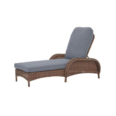 Beacon Park Brown Wicker Outdoor Patio Chaise Lounge with CushionGuard Steel Blue Cushions