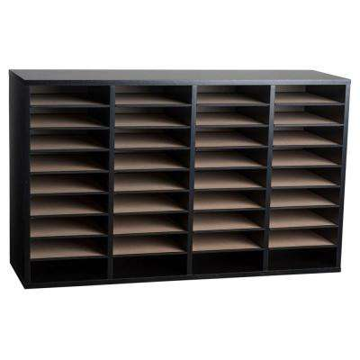 Wood Adjustable 36 Compartment Literature Organizer, Black