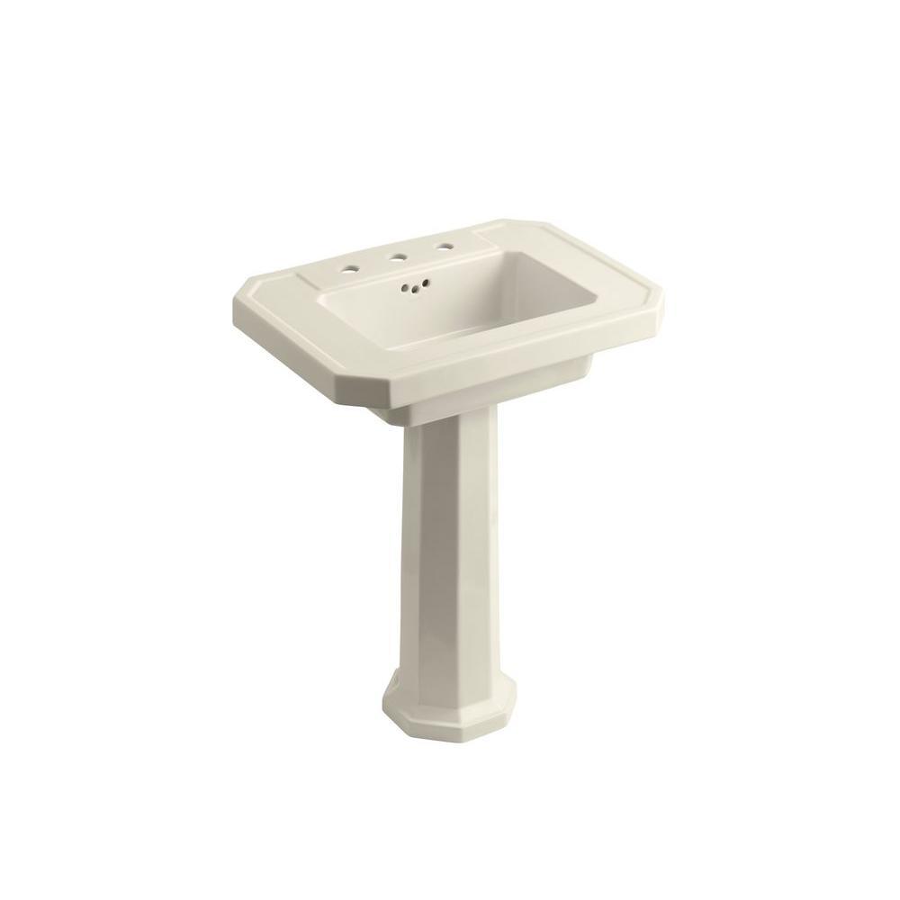KOHLER Kathryn Ceramic Pedestal Combo Bathroom Sink in Almond with Overflow Drain