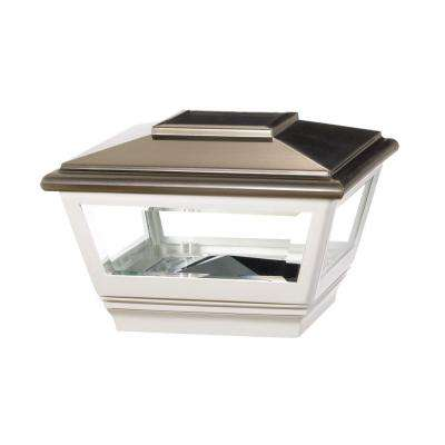 4 in. x 4 in. Vinyl Solar Light Stainless Top Pyramid Post Cap with White Base