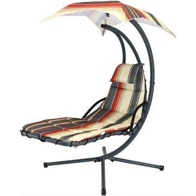 Steel Outdoor Floating Chaise Lounge Chair with Polyester Modern Lines Cushions and Canopy
