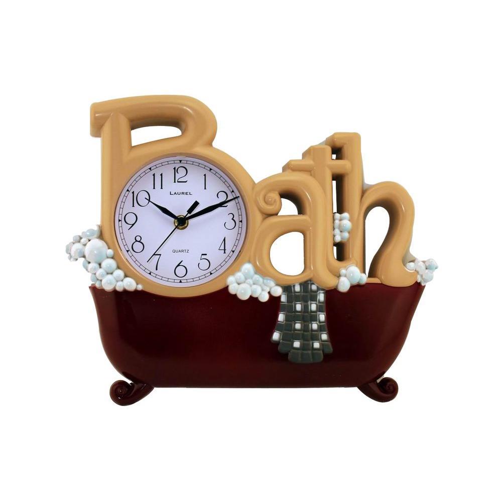 Nextime 11.38 in. x 14 in. Bath Rectangular Plastic Wall Clock-DISCONTINUED