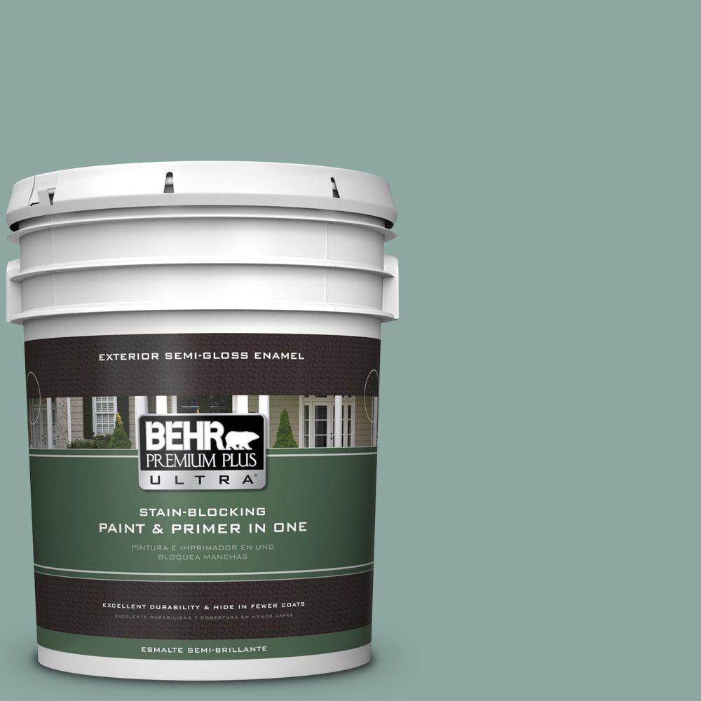 BEHR Premium Plus Ultra 5-gal. #S430-4 Green Meets Blue Semi-Gloss Enamel Exterior Paint
