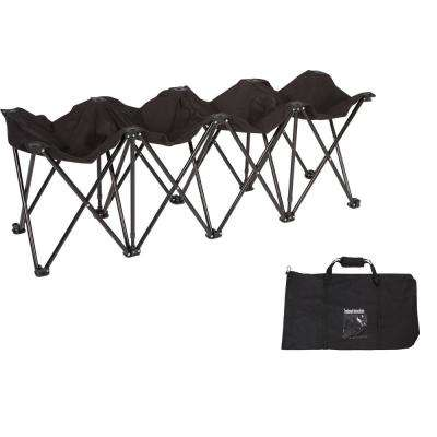 Black Portable 4-Seater Folding Team Sports Sideline Chair