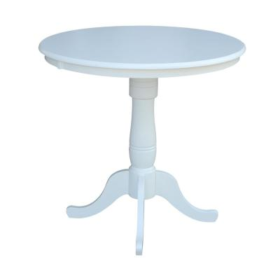 Pure White Round Counter Height Pedestal Bar Table