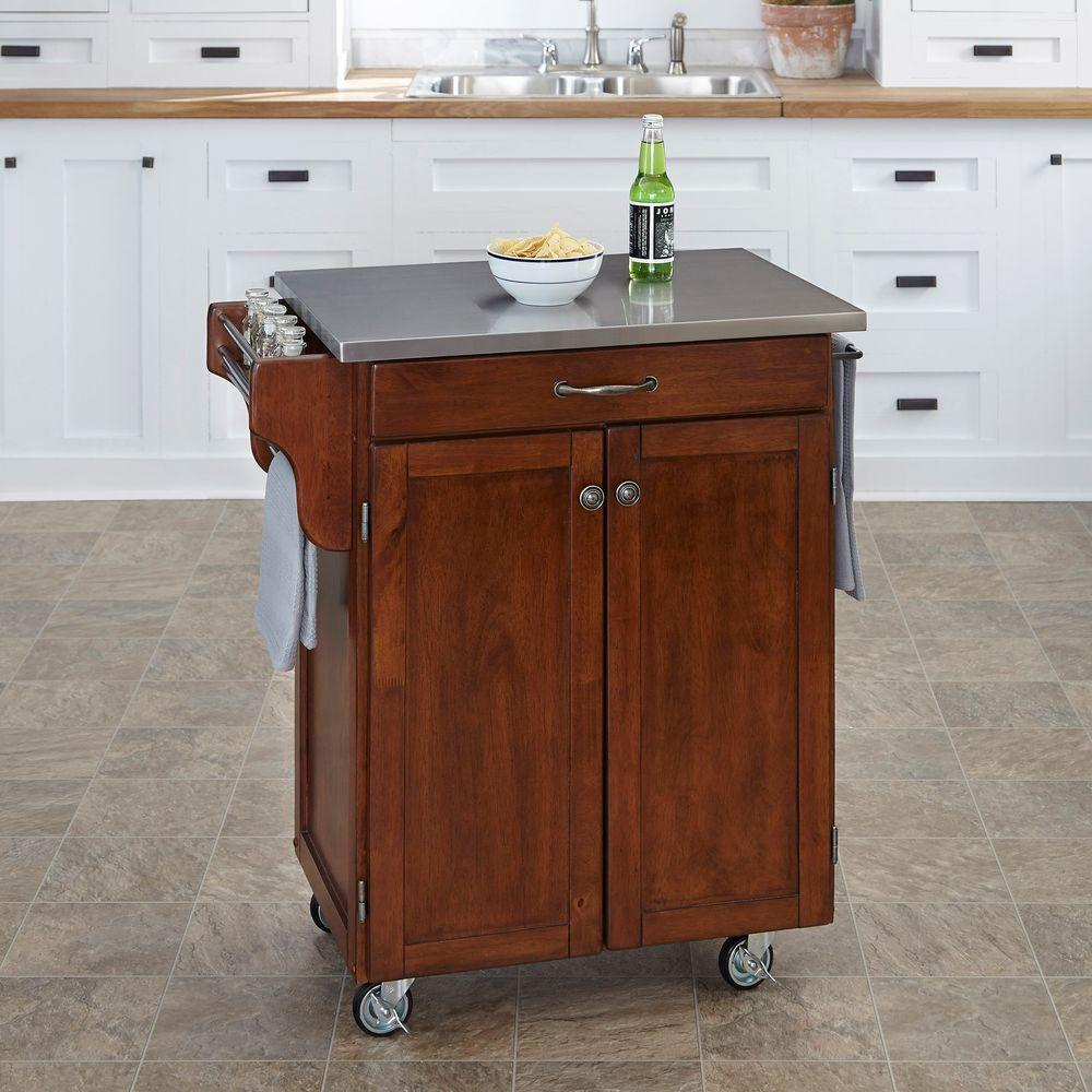 Create-a-Cart Cherry Kitchen Cart With Stainless Top