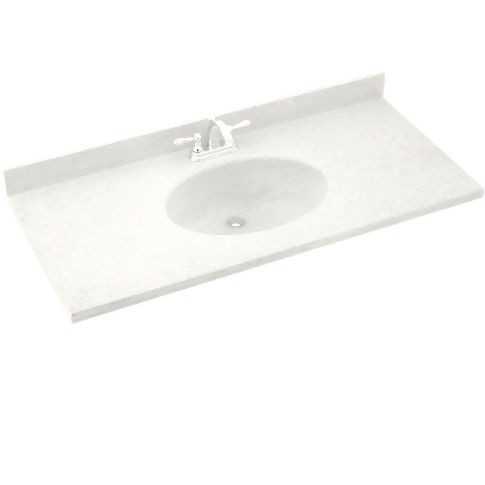 Swanstone Chesapeake 61 in. W Solid Surface Vanity Top in Tahiti Ivory with Tahiti Ivory Basin