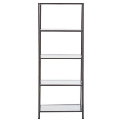 Bella Aged Bronze 24 in. Wide Glass Bookcase